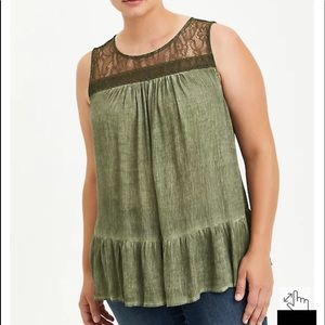 Nwt Torrid size 1 Olive Mineral Wash Lace Tank Top